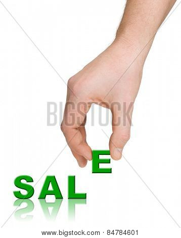 Hand and word Sale isolated on white background