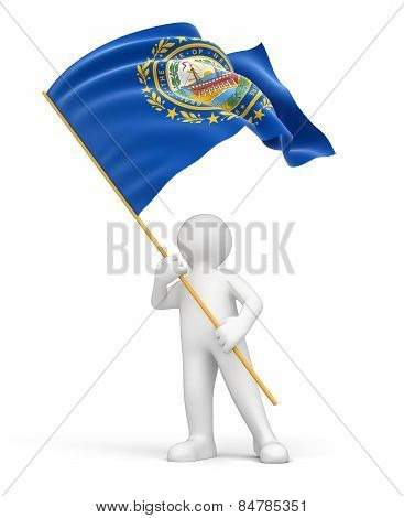 Man and flag of New Hampshire (clipping path included)