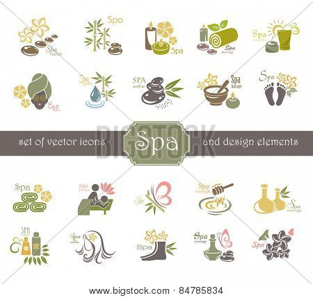 Spa logo and design elements.
