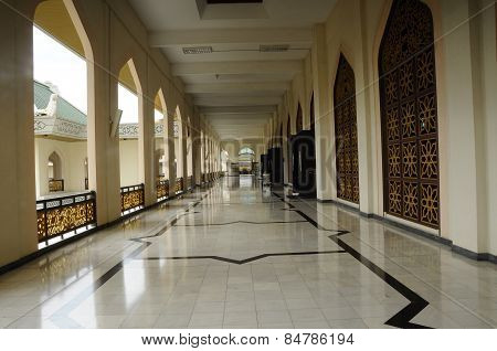 Corridor of Al Azim Mosque in Malacca, Malaysia