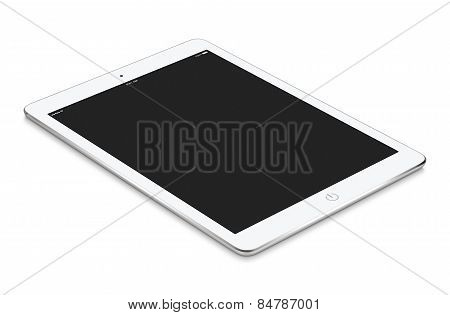 White Tablet Computer With Blank Screen Mockup Lies On The Surface