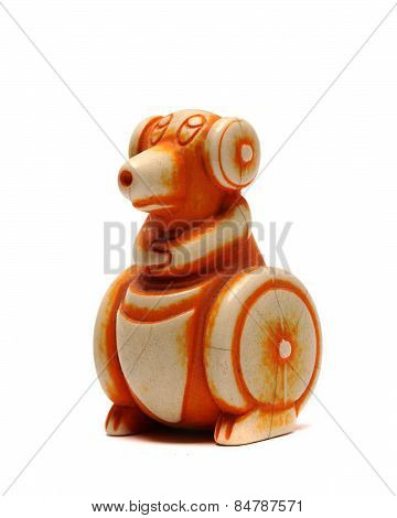 Old Plastic Figurine Rodent On A White Background