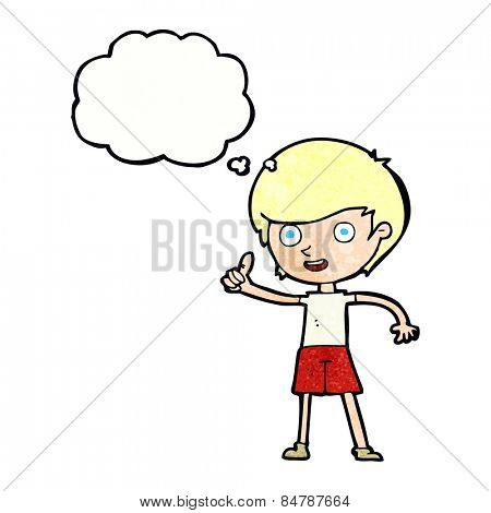 cartoon boy giving thumbs up symbol with thought bubble