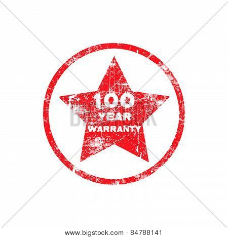 One hundred year warranty red grungy stamp isolated on white background.