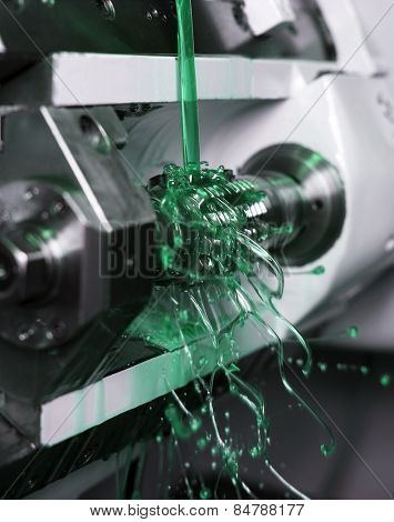 Close up of Green Floating Fluid in a machine