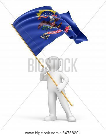Man and flag of North Dakota (clipping path included)