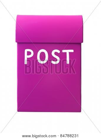 Pink mailbox isolated on a white background