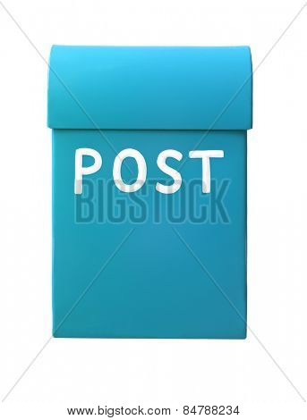 Light Blue mailbox isolated on a white background