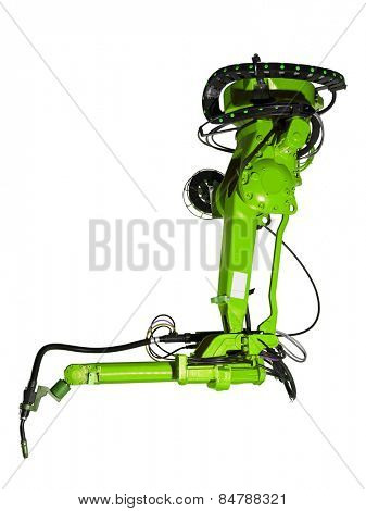 Green Industrial machine part on white background