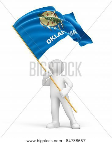 Man and flag of Oklahoma (clipping path included)