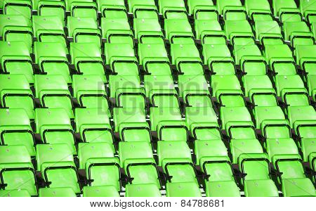 Green Spectators seats at a stadium