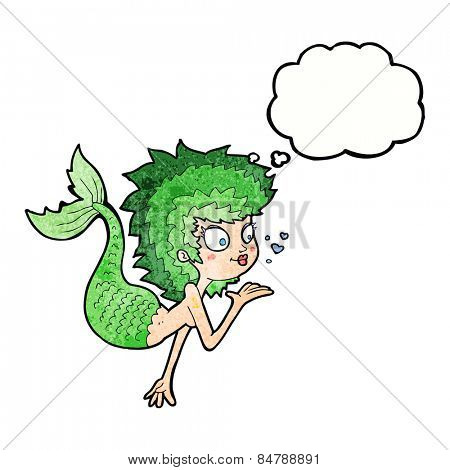 cartoon mermaid blowing a kiss with thought bubble