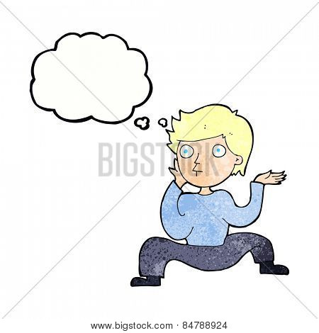 cartoon boy doing crazy dance with thought bubble