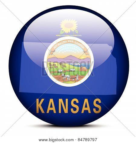 Map On Flag Button Of Usa Kansas State