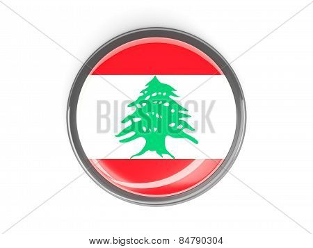 Round Button With Flag Of Lebanon
