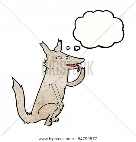 cartoon wolf licking paw with thought bubble