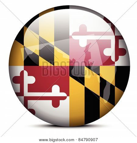 Map On Flag Button Of Usa Maryland State