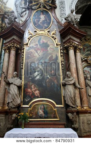 VIENNA, AUSTRIA - OCTOBER 10: Altar in Dominican Church in Vienna, Austria on October 10, 2014. Famous baroque church was completed in 1634.