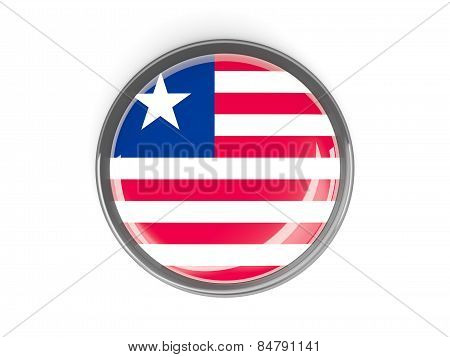 Round Button With Flag Of Liberia