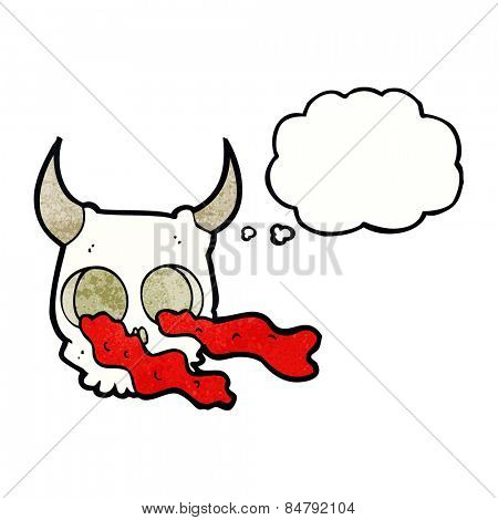 cartoon halloween skull with thought bubble