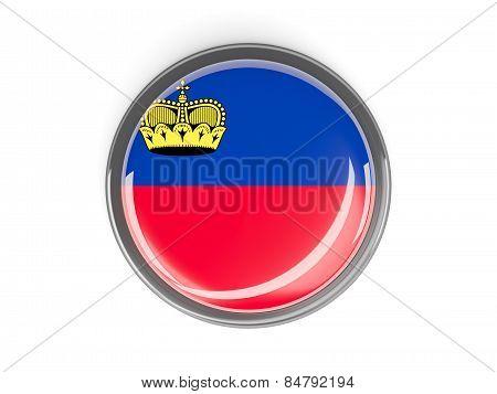 Round Button With Flag Of Liechtenstein