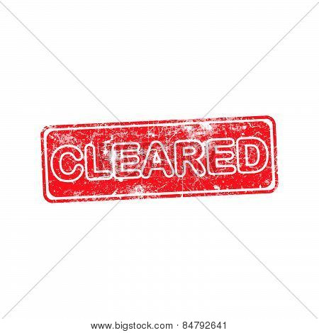 Cleared Red Grunge Rubber Stamp Vector Illustration