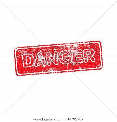 Danger Red Grunge Rubber Stamp Vector Illustration