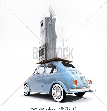 3D rendering of a small retro car carrying household electrical appliances