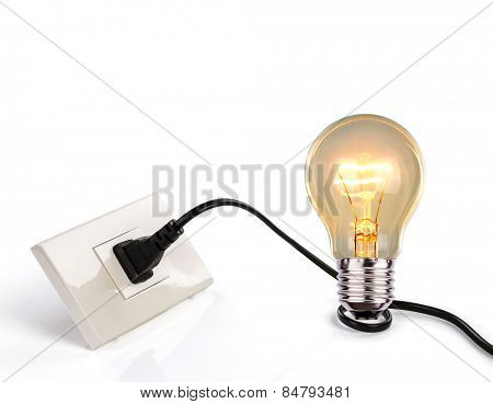 Light bulb and a plug with a cord