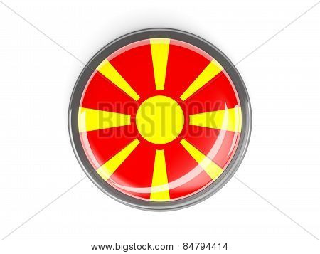 Round Button With Flag Of Macedonia