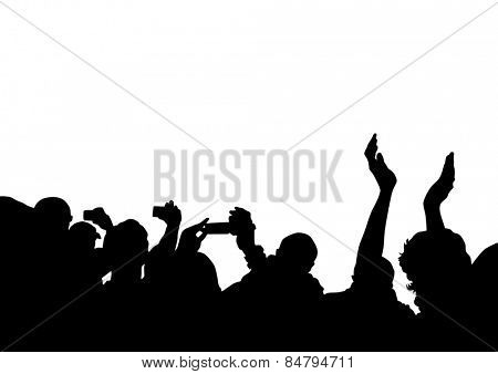 Crowd in front of the stage on a white background