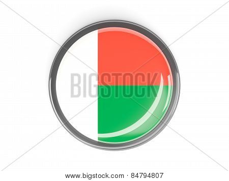 Round Button With Flag Of Madagascar