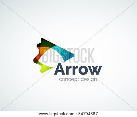Abstract tick logo design of color pieces, overlapping geometric shapes.  Light and shadow effects