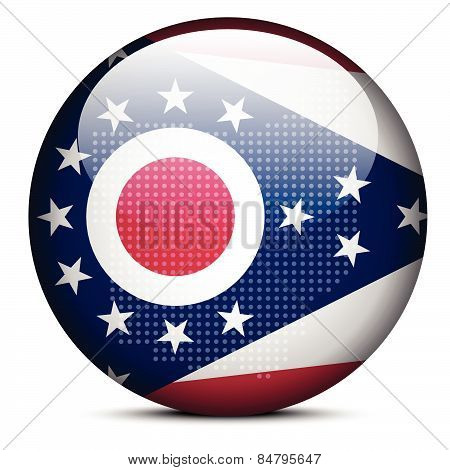 Map With Dot Pattern On Flag Button Of Usa Ohio State