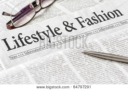 A Newspaper With The Headline Lifestyle And Fashion