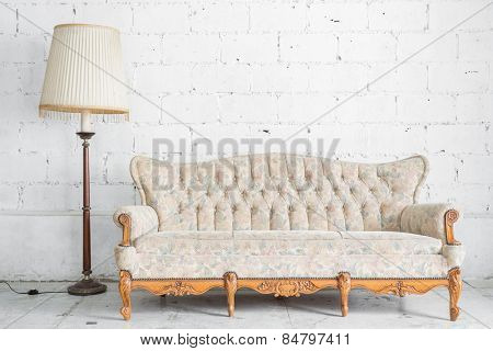 White Vintage classical style Sofa bed with lamp