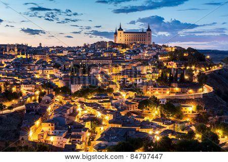 Toledo Cityscape with Alcazar at dusk in Madrid Spain