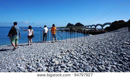 Tourists Visit The Famous Bridge At Sanxiantai In Taitung County Taiwan.