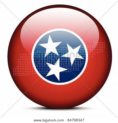 Map With Dot Pattern On Flag Button Of Usa Tennessee State