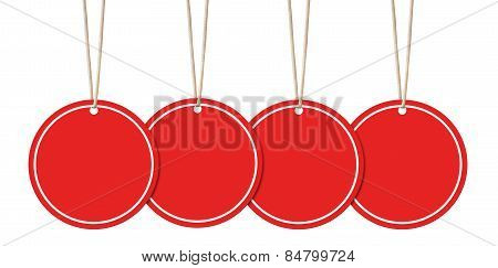 Hanging Round Red Tags Isolated On White With Clipping Path.