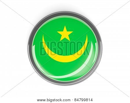 Round Button With Flag Of Mauritania