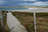 stock photo of falklands  - Gravel walkway leading to the curved sandy beach of Yorke Bay in the Falkland Islands - JPG