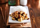 foto of crispy rice  - crispy tofu cubes drizzled in teriyaki sauce with rice - JPG