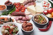 stock photo of buffet  - Tapas or antipasto food - JPG