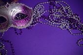 picture of carnivale  - A purple mardi gras mask on a purple background with beads - JPG