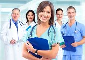 image of medical  - Medical doctor woman over health care background - JPG