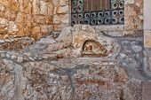 foto of gethsemane  - The Rock of the Agony outside of the Church of all Nations in Jerusalem - JPG