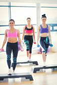 picture of step aerobics  - Fitness class performing step aerobics exercise with dumbbells against fitness interface - JPG