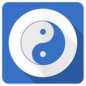picture of ying-yang  - ying yang blue flat icon   - JPG