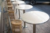 pic of stool  - Stylish bar stool with table at the bakery - JPG